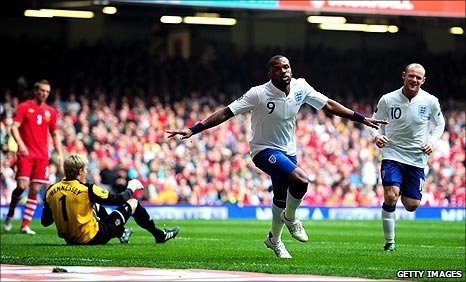 Darren Bent scores in the 14th minute against Wales to secure victory.