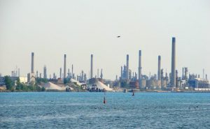 View of the chemical valley in Sarnia ON